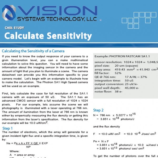 How to Calculate a Camera's Sensitivity